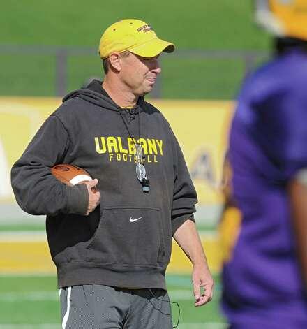 UAlbany's new defensive coordinator Bob Benson during football practice on Wednesday, Sept. 17, 2014 in Albany, N.Y. (Lori Van Buren / Times Union) Photo: Lori Van Buren / 10028658A