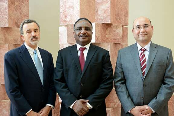 Texas A&M announced in September 2014 that it has established the Gas and Fuels Research Center on A&M s campus in the Persian Gulf  nation of Qatar. Managing the project are, from left, Ioannis Economou,  co-director; Nimir Elbashir, director; and Mahmoud El-Halwagi, managing director. (Texas A&M Engineering Experiment Station photo).
