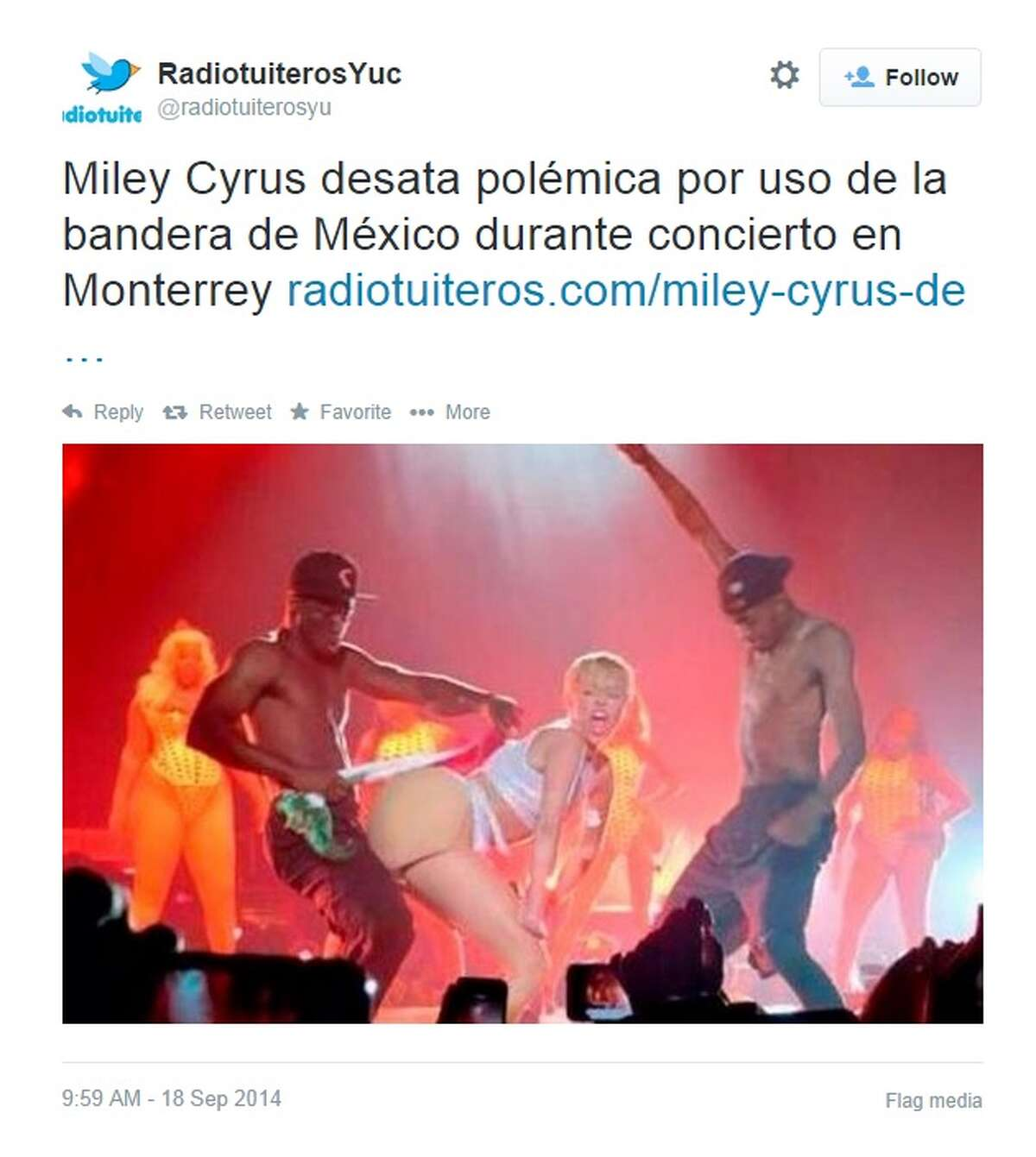 Pop star Miley Cyrus is under a criminal investigation for desecrating the Mexican flag on stage in Monterrey on September 16, 2014, which is Mexican Independence Day.