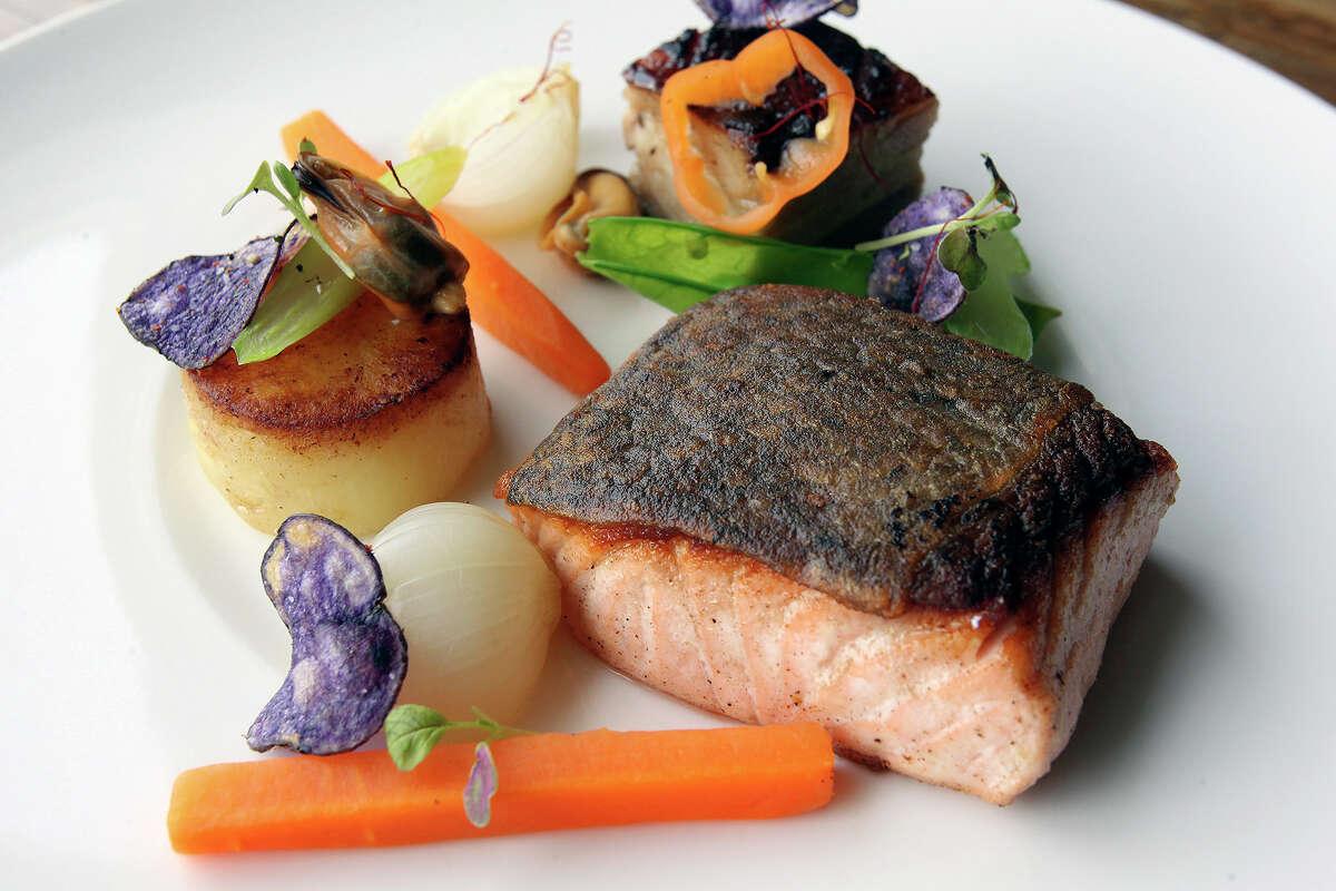 Starfish restaurant serves salmon and pork belly on September 17, 2014.