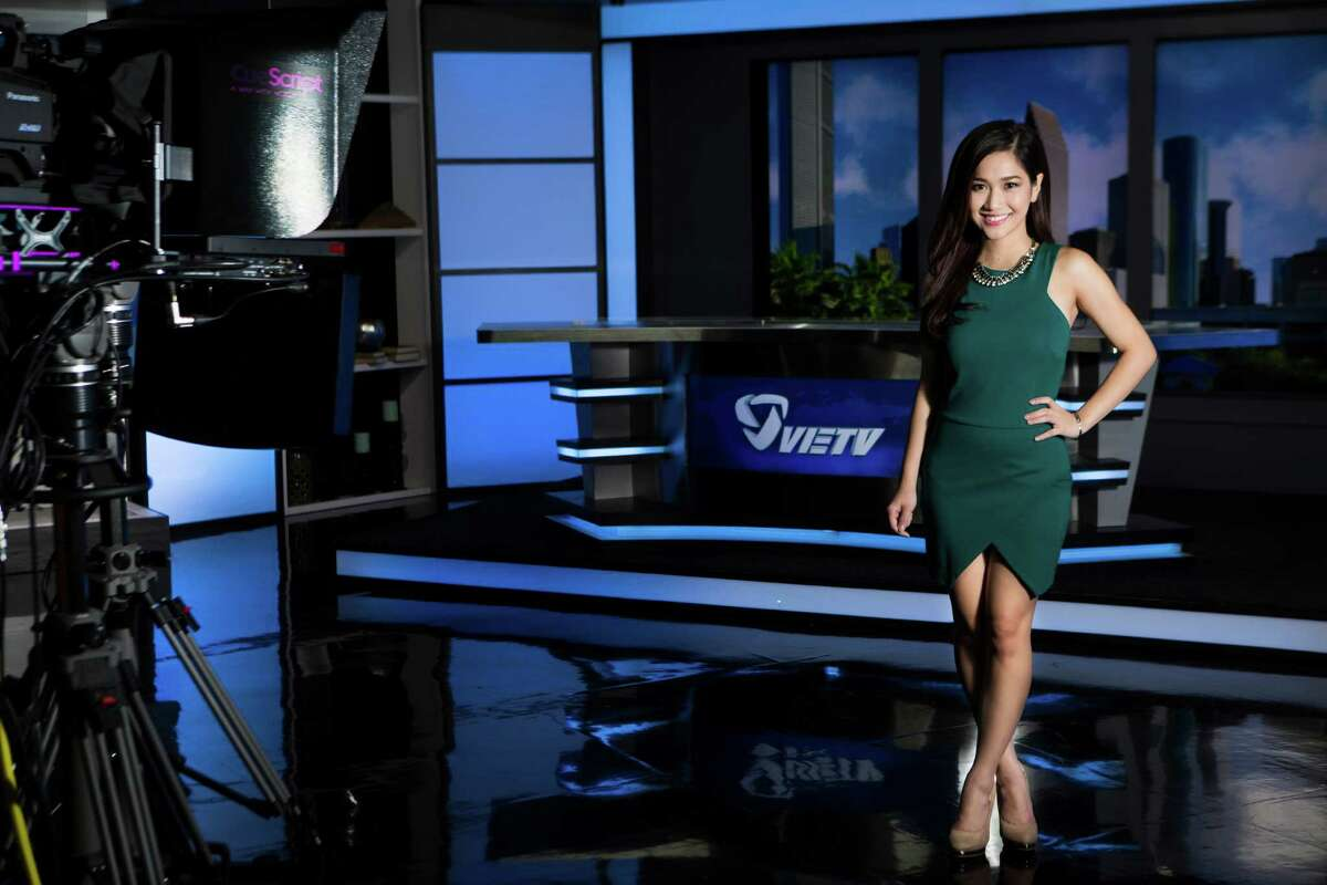 """Kieu Tram, 25, a communications students at the University of Houston, is the news anchor for the """"Evening NEWS"""" and the """"NEWS @ Nite"""" programs of VIETV. Tram has been working at the station for the past three years, soon after arriving to the United States from Vietnam with the plan to mostly acquire a bachelors degree. Thursday, Aug. 28, 2014, in Houston. ( Marie D. De Jesus / Houston Chronicle )"""