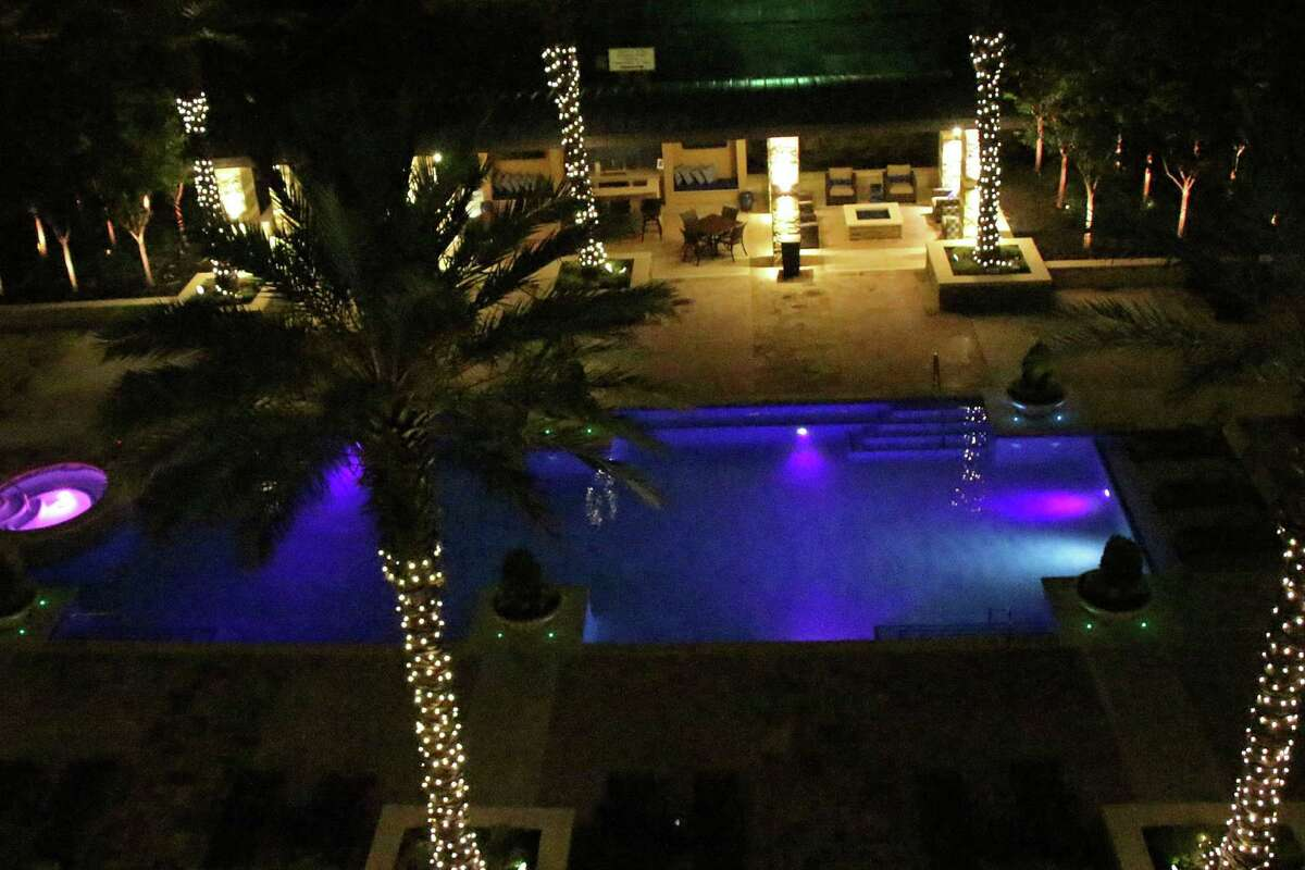 Belinda Pustka's nighttime view of The Broadway's pool, from her fourth-floor residence.