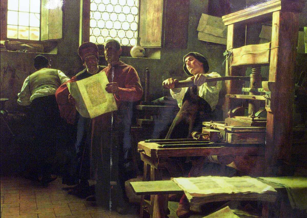 A photograph of the first printers in Florence, Italy, in 1471, was part of a display shown to students at Stanley Middle School, who were able to print their own broadsheets using antique letter presses during a program put on by the Lafayette Arts & Science Foundation.