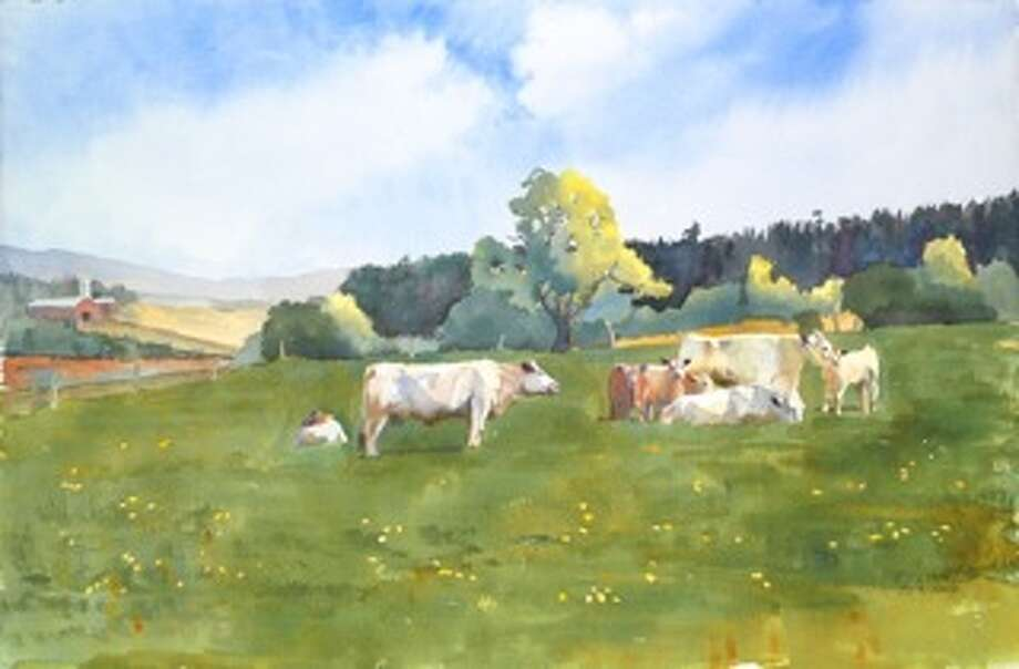 "Retired veterinarian Robert Lynk's ""Laura and Gerry's Charolais,"" a pastoral scene of French beef cows grazing in a field, will be on the cover of the Journal of the American Veterinary Medical Association's Sept. 15 issue. (Nancy Lynk)"