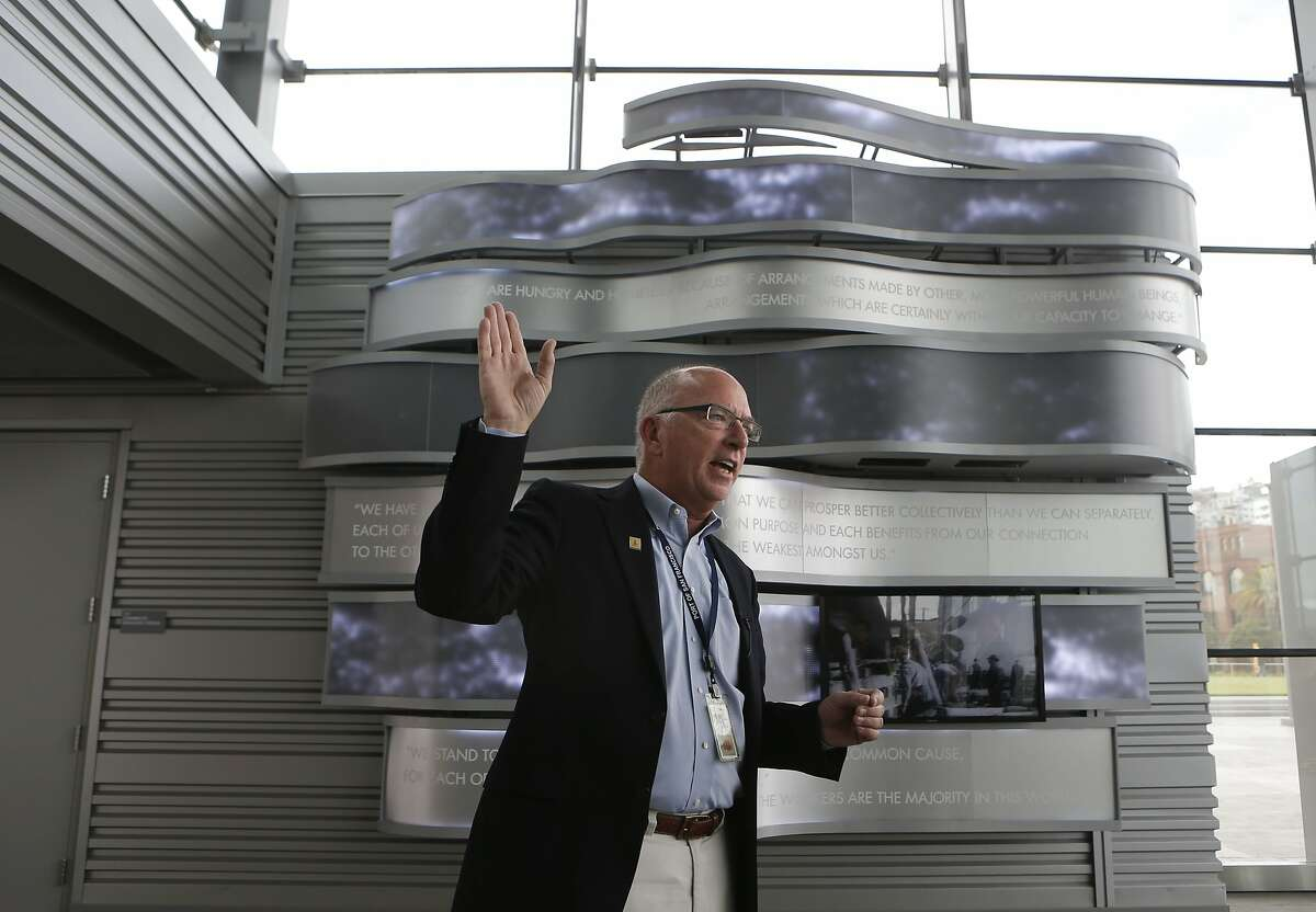 Peter Dailey, Maritime director for the Port of San Francisco, is next to a display to honor James R. Herman, a former Port Commissioner and President of the International Longshore and Warehouse Union, who the newly completed terminal is named after, at Pier 27 in San Francisco , Calif., on Thursday Sept. 18, 2014.