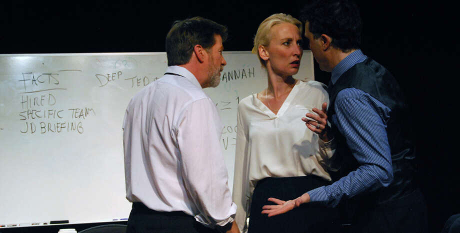 "Michael Ray Wisely (left), Carrie Paff and Mark Anderson Phillips in Aaron Loeb's ""Ideation,"" which has some unusual influences. "" returns to open the Playhouse main stage season with original cast members (from left) Michael Ray Wisely, Carrie Paff and Mark Anderson Phillips. The production continues through Nov. 8. Photo by Jordan Puckett Photo: Jordan Puckett / ONLINE_YES"