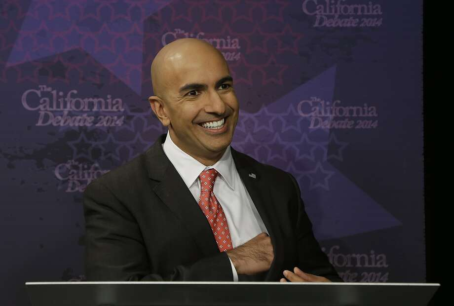 Republican challenger Neel Kashkari smiles before participating in a gubernatorial debate with Gov. JerryBrown in Sacramento, Calif., Thursday, Sept. 4, 2014. Thursday's debate is likely to be the only one of the general election. (AP Photo/Rich Pedroncelli, Pool) Photo: Rich Pedroncelli, Associated Press
