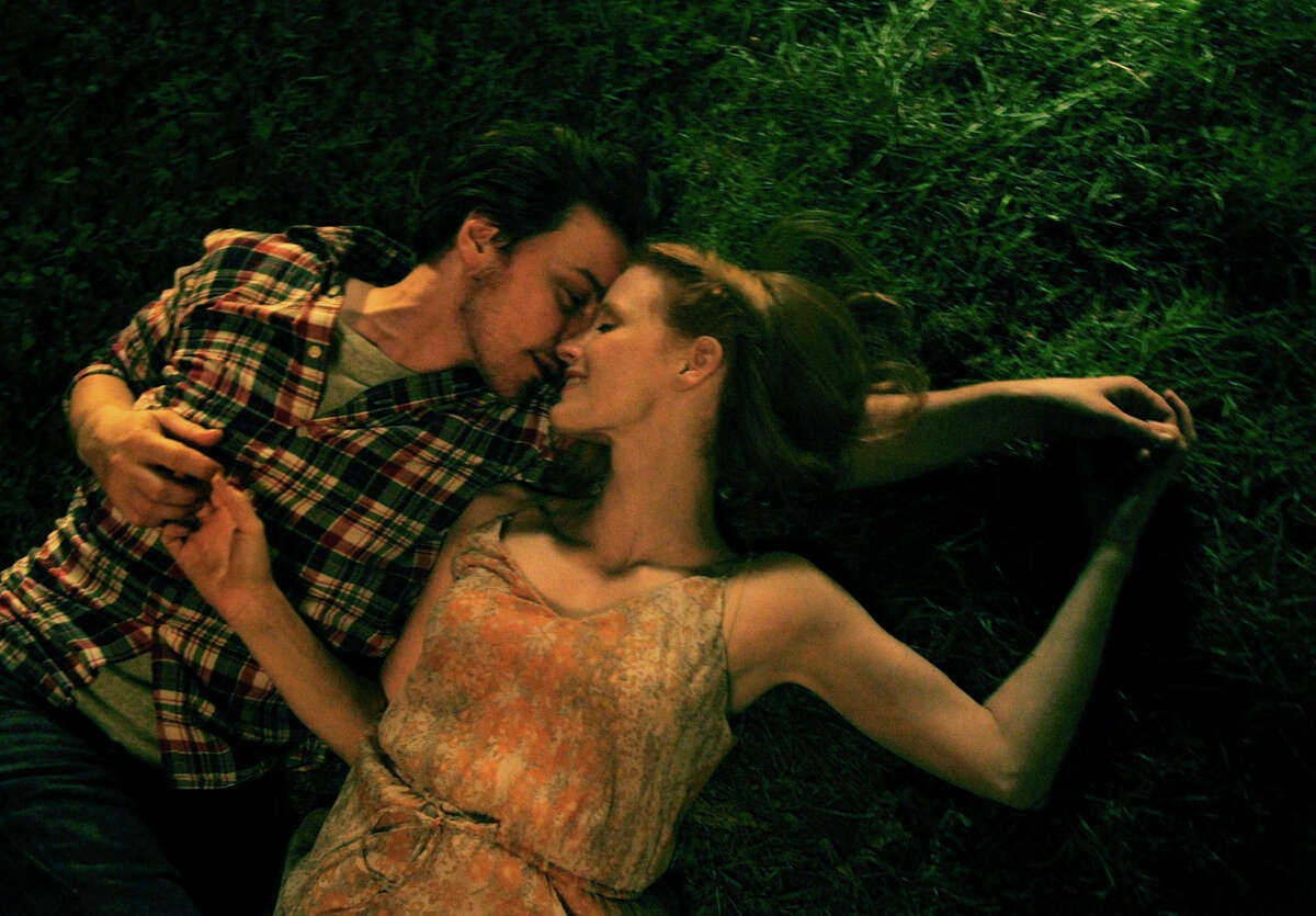 """James McAvoy and Jessica Chastain in a scene from the happy past, in """"The Disappearance of Eleanor Rigby."""""""