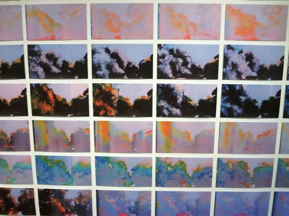 "Joey Fauerso made nearly 200 small paintings based on her videos of a coastal landscape for ""Invasive Species"" at Artpace, then made prints from them on an old ink-jet printer."