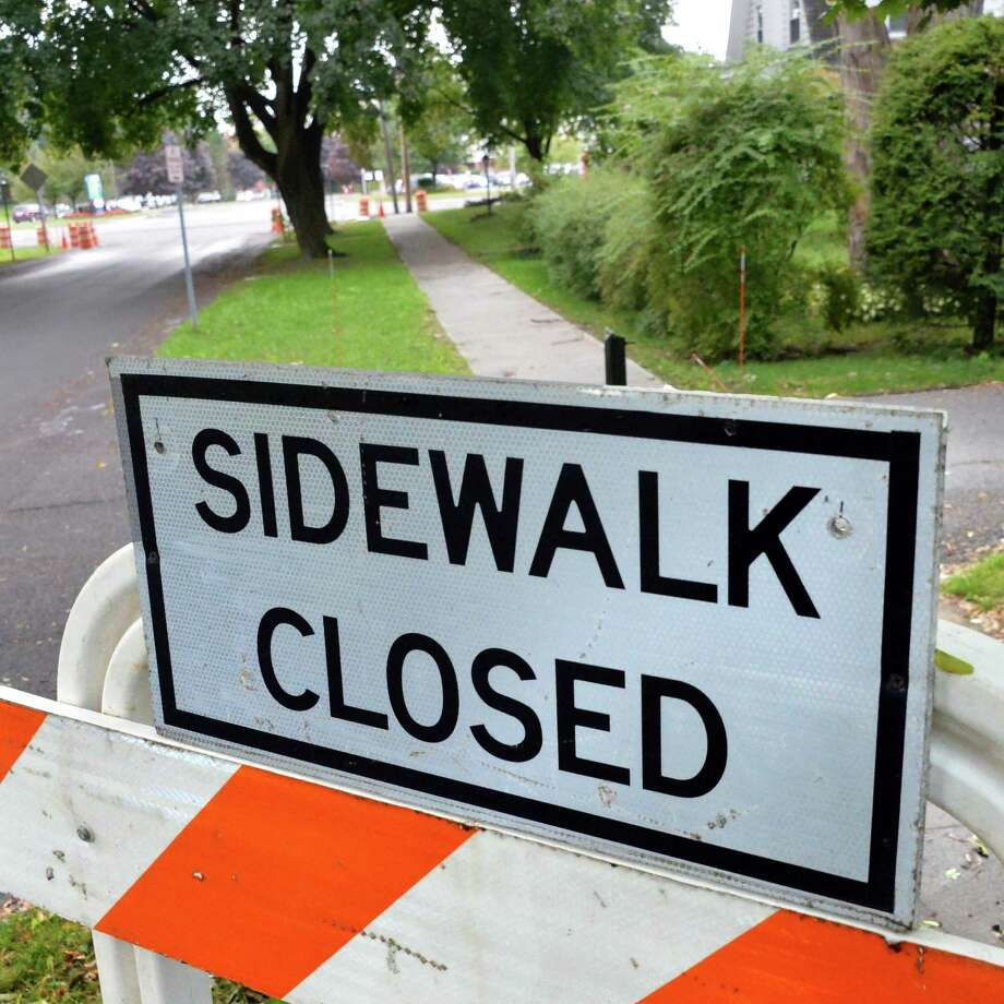 Sidewalk closed sign on Glenwood Street Tuesday Sept. 16, 2014, in Albany, NY.  (John Carl D'Annibale / Times Union) Photo: John Carl D'Annibale / 00028635A