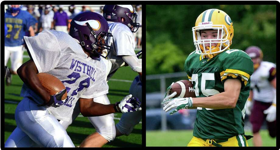 Westhill's Josh Exantus, left, and Trinity Catholic's Sam Ruzzi will face off in Saturday's football game. Photo: File Photo / Stamford Advocate File Photo