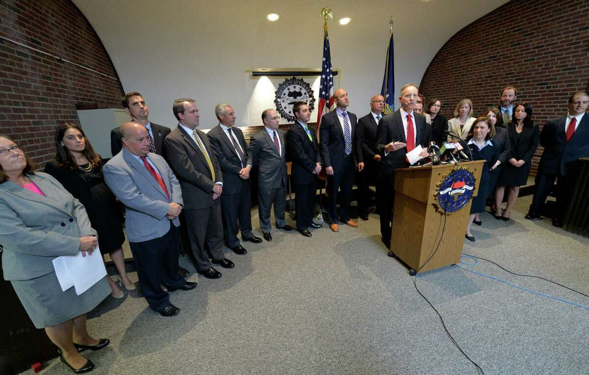 Saratoga County District Attorney Jim Murphy announced he will step down and place Karen Heggen in his position as acting DA Thursday, Sept. 18, 2014, during a press conference held at Murphy's office in Ballston Spa, N.Y. (Skip Dickstein/Times Union)