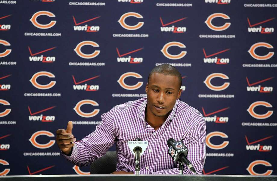 LAKE FOREST - SEPTEMBER 18:  Chicago Bears receiver Brandon Marshall speaks to the media about his past, domestic violence, and media coverage of the issue at Halas Hall on September 18, 2014 in Lake Forest, Illinois. Marshall also used his time to express anger at the way he was portrayed in an ESPN profile that recently aired.  (Photo by Scott Olson/Getty Images) Photo: Scott Olson, Staff / 2014 Getty Images