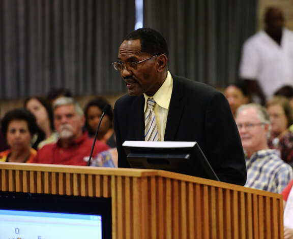 Chief Clydell Duncan of the BISD police department speaks during the public comment session of Thursday's meeting. The Beaumont Independent School District board of managers met Thursday night for their regular meeting. Photo taken Thursday 9/18/14 Jake Daniels/@JakeD_in_SETX Photo: Jake Daniels / ©2014 The Beaumont Enterprise/Jake Daniels