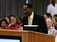 Chief Clydell Duncan of the BISD police department speaks during the public comment session of Thursday's meeting. The Beaumont Independent School District board of managers met Thursday night for their regular meeting. Photo taken Thursday 9/18/14 Jake Daniels/@JakeD_in_SETX