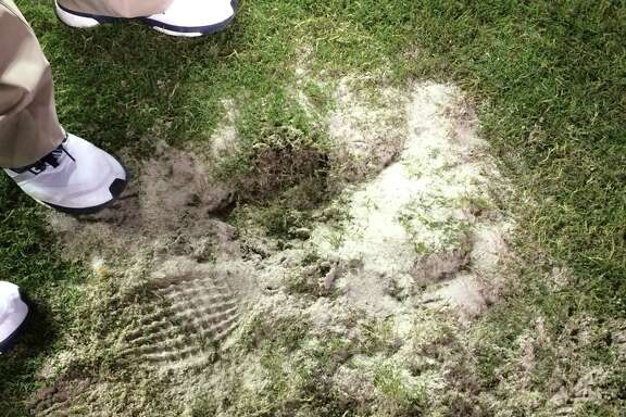 In last Saturday's game vs. Rice, A&M's grounds crew tried to plug in the massive divots with sand during second-half breaks.