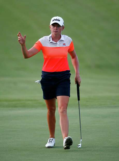 PRATTVILLE, AL - SEPTEMBER 18:  Stacy Lewis reacts to a birdie putt on the 18th hole during the first round of the Yokohama Tire LPGA Classic at the Robert Trent Jones Golf Trail at Capitol Hill Senator Course on September 18, 2014 in Prattville, Alabama.  (Photo by Sam Greenwood/Getty Images) Photo: Sam Greenwood, Staff / 2014 Getty Images