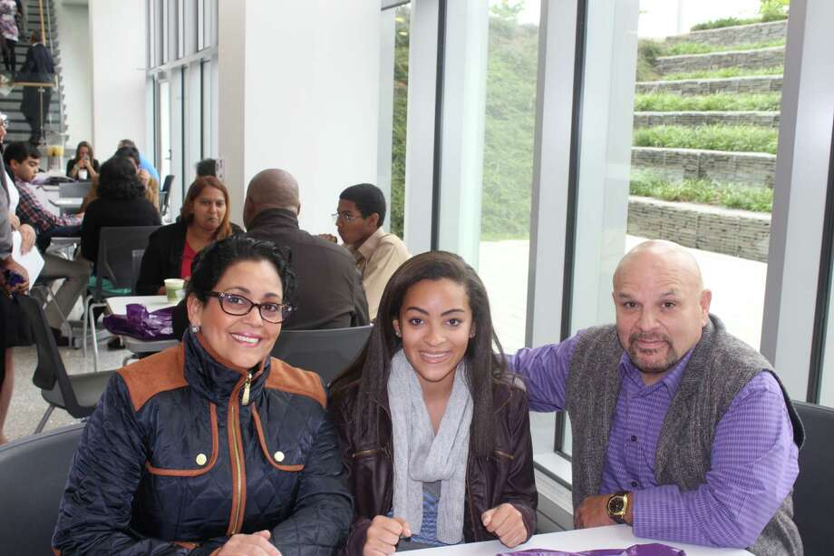Were you Seen at the Multicultural High School Achievers Award Program at the University at Albany on Saturday, Sept. 13, 2014? Photo:  Irene Mensah, Janelle Fajardo, And CSTEP Volunteer