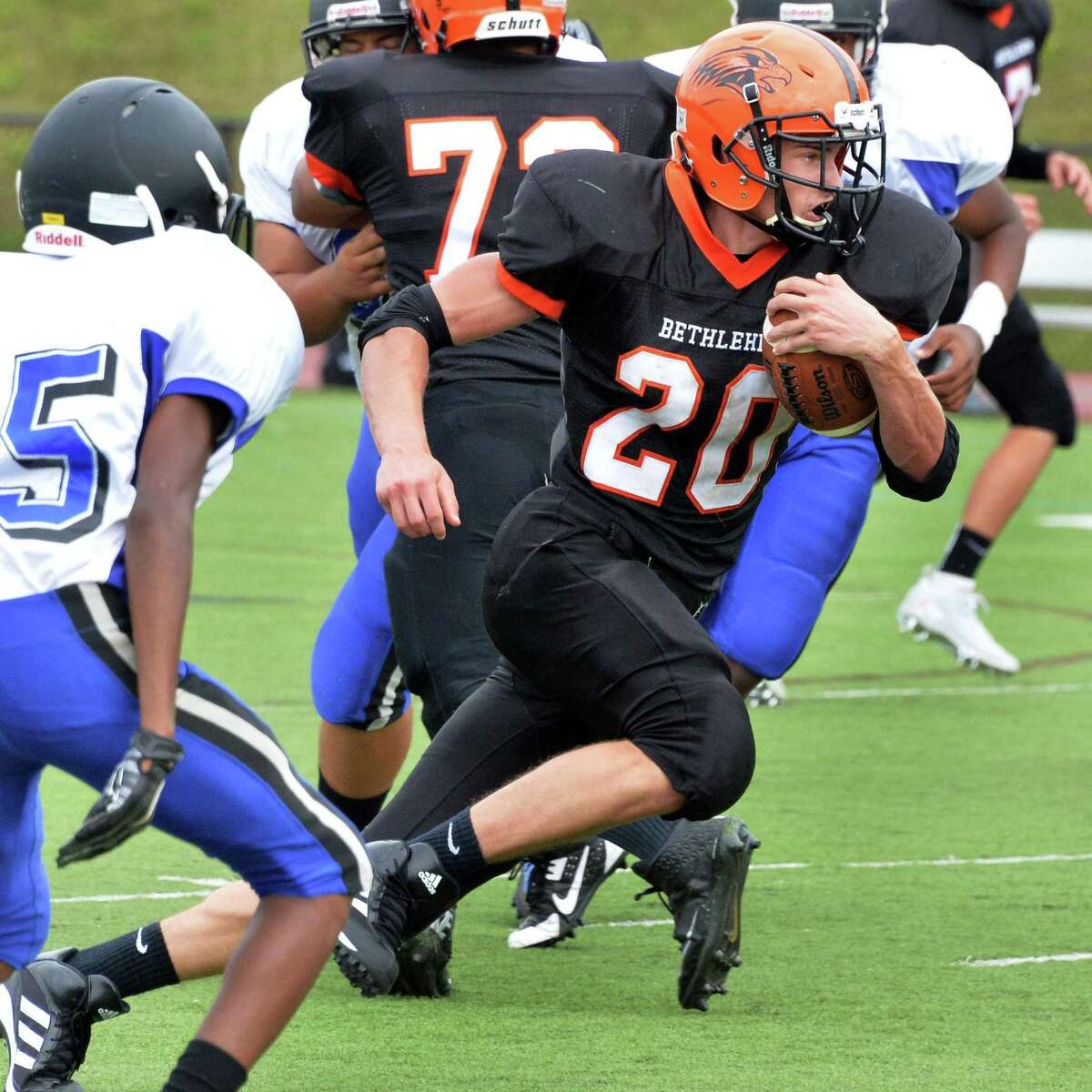 Bethlehem's #20 Ben Zonca gains ground during Saturday's game against Albany High Sept. 6, 2014, at Union College's Frank Bailey Field in Schenectady,NY. (John Carl D'Annibale / Times Union)