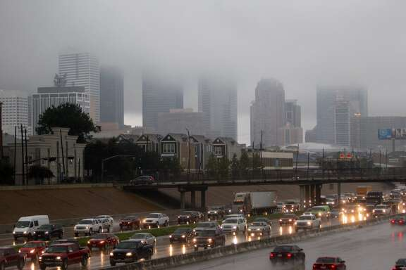 Heavy rain made for slick conditions on Houston's roads Friday morning.