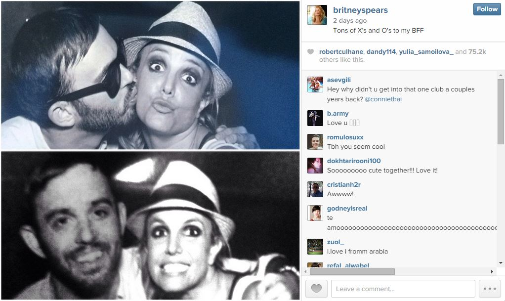 Newly Single Britney Spears Gets Kiss From Texas Man San