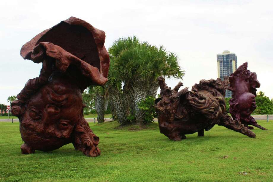"The City of South Padre Island is displaying three giant sculptures, called ""Three Colossal Heads,"" to celebrate Hispanic Heritage Month. Photo: Courtesy Of The City Of South Padre Island"