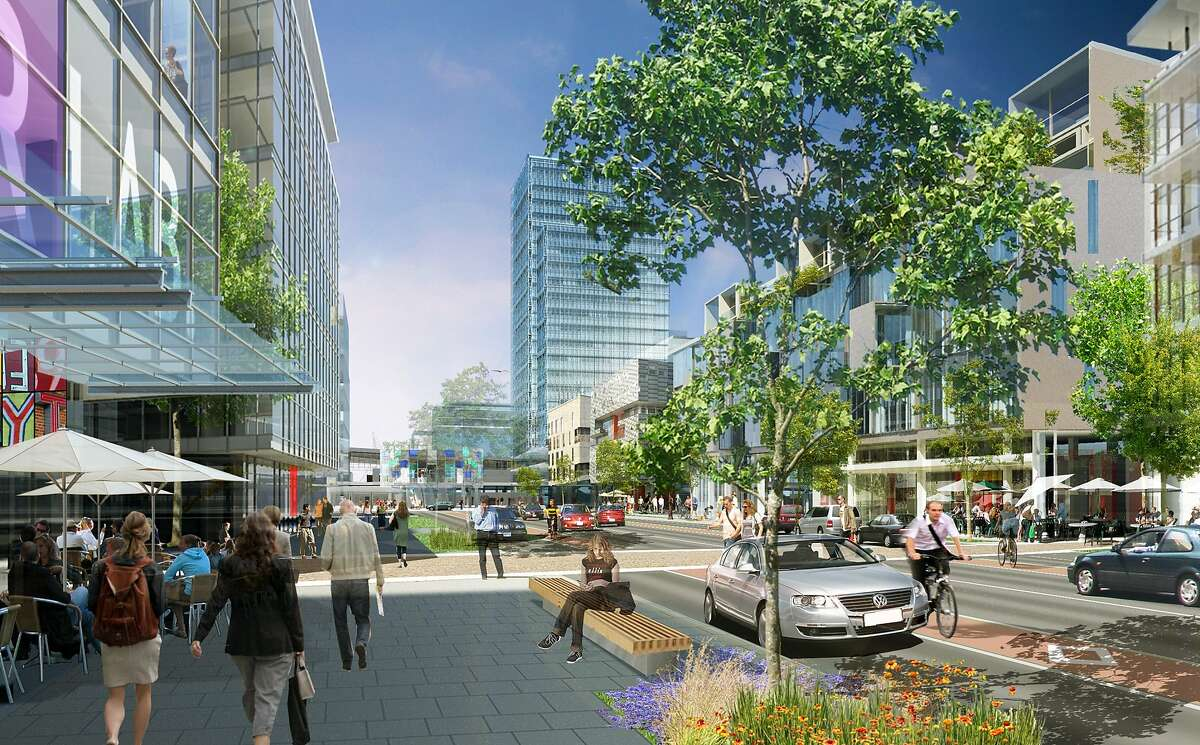 An illustration captures the concept for the mixed-use but open-ended vision that Fremont has for the nearly 900 acres around the new BART station.