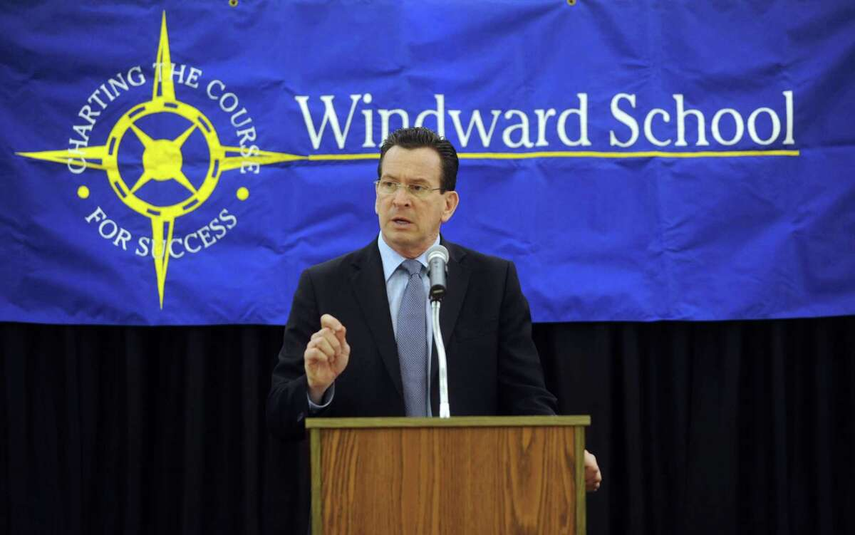Connecticut Governor Dannel Malloy speaks at The Windward School in White Plains, NY, on Wednesday, February 29, 2012, about his struggle with dyslexia and physical disabilities as a child.