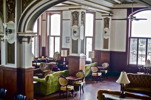 The interior of Public Services Wine & Whisky in the Cotton Exchange building downtown.