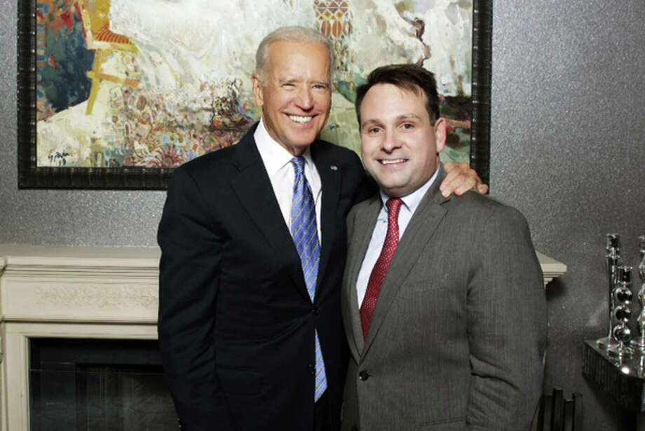 Vice President Joe Biden meets with Greenwich Selectman Drew Marzullo at a fundraiser for Governor Dannel Malloy at the Greenwich home of financier and philanthropist Richard Lukaj. Photo: Contributed Photo / Greenwich Time Contributed
