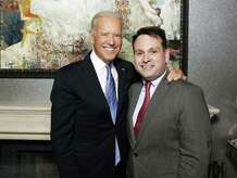 Vice President Joe Biden meets with Greenwich Selectman Drew Marzullo at a fundraiser for Governor Dannel Malloy at the Greenwich home of financier and philanthropist Richard Lukaj.