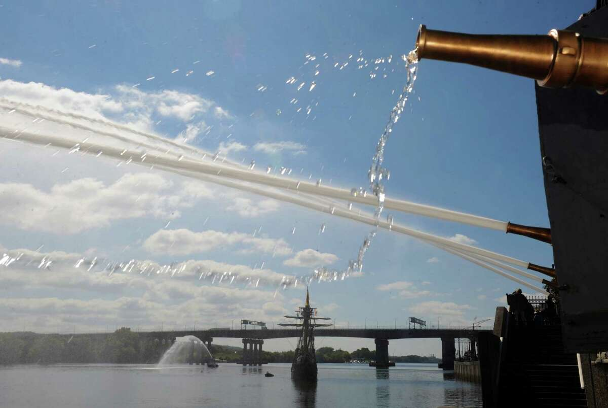 A water salute from the Office of General Services Water Pumping Station welcomes local middle school children return from their student voyage of discovery aboard the replica ship the Half Moon on Friday Sept. 19, 2014 in Albany, N.Y. (Michael P. Farrell/Times Union)