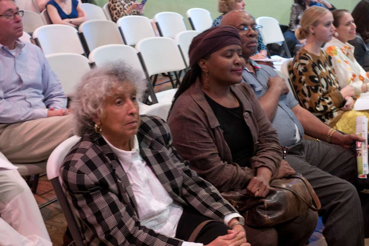 Zinetta Burney, Theola Petteway, and Rev. Ray Martin (all 77004) listen during the first of several Memorial Park Master Plan meetings, this one at the El Dorado Ballroom. Photo By R. Clayton McKee