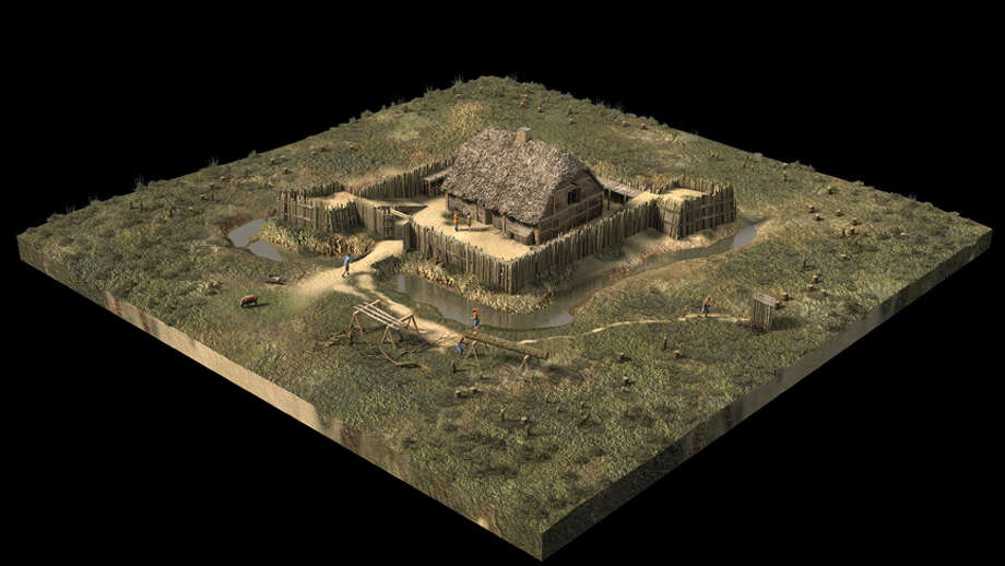 This 3-D computer model created by artist Len Tantillo depicts Fort Nassau in 1614 along the Hudson River near today's Port of Albany (Image courtesy of Len Tantillo) Photo: Len