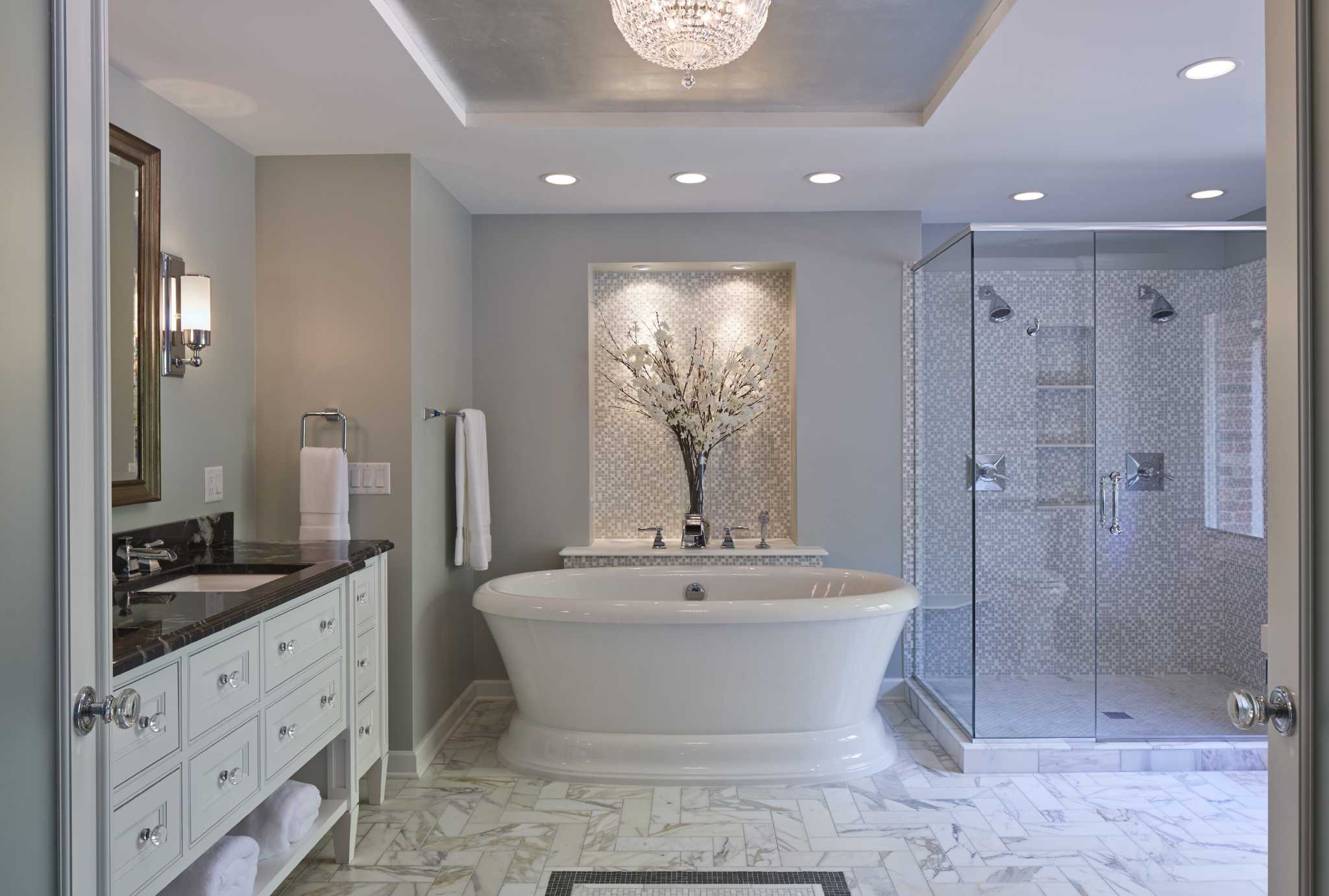 Bathroom trends serene and clean san antonio express news for New small bathroom trends