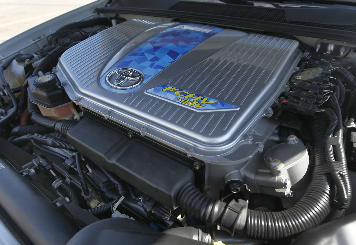 The engine compartment of Toyota's first fuel cell vehicle, a 2009 FCHV-adv, is displayed in San Francisco, Calif. on Tuesday, Sept. 16, 2014. Toyota is set to release it's latest generation hydrogen fuel cell car, currently referred to only as the Toyota FCV, in 2015.