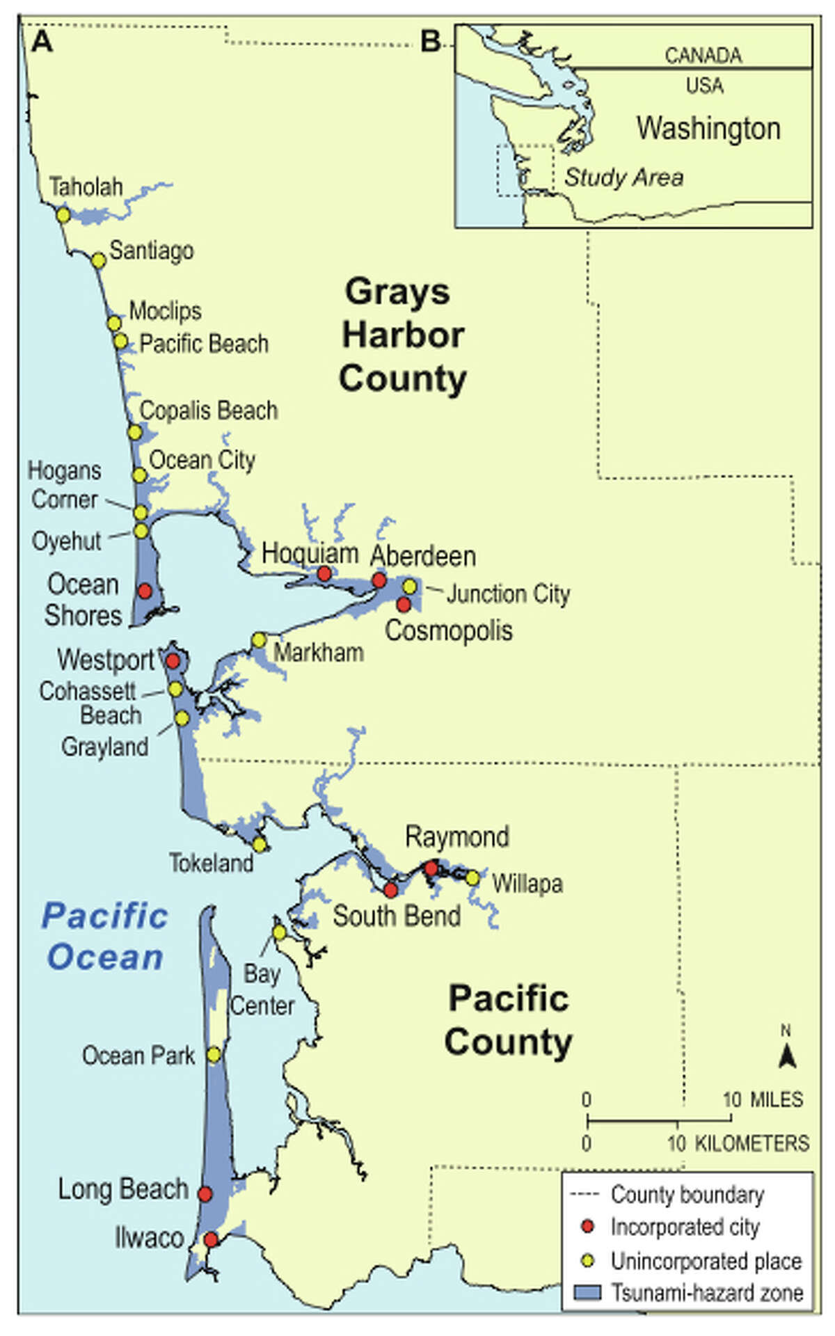 """Maps of the communities of Pacific and Grays Harbor counties in a tsunami-hazard zone related to a potential Cascadia subduction zone earthquake, and the study area for research of how many people could make it out of a tsunami zone in the event of a Cascadia Subduction Zone earthquake. The research by the USGS is titled: """"Community variations in population exposure to near-field tsunami hazards as a function of pedestrian travel time to safety"""""""