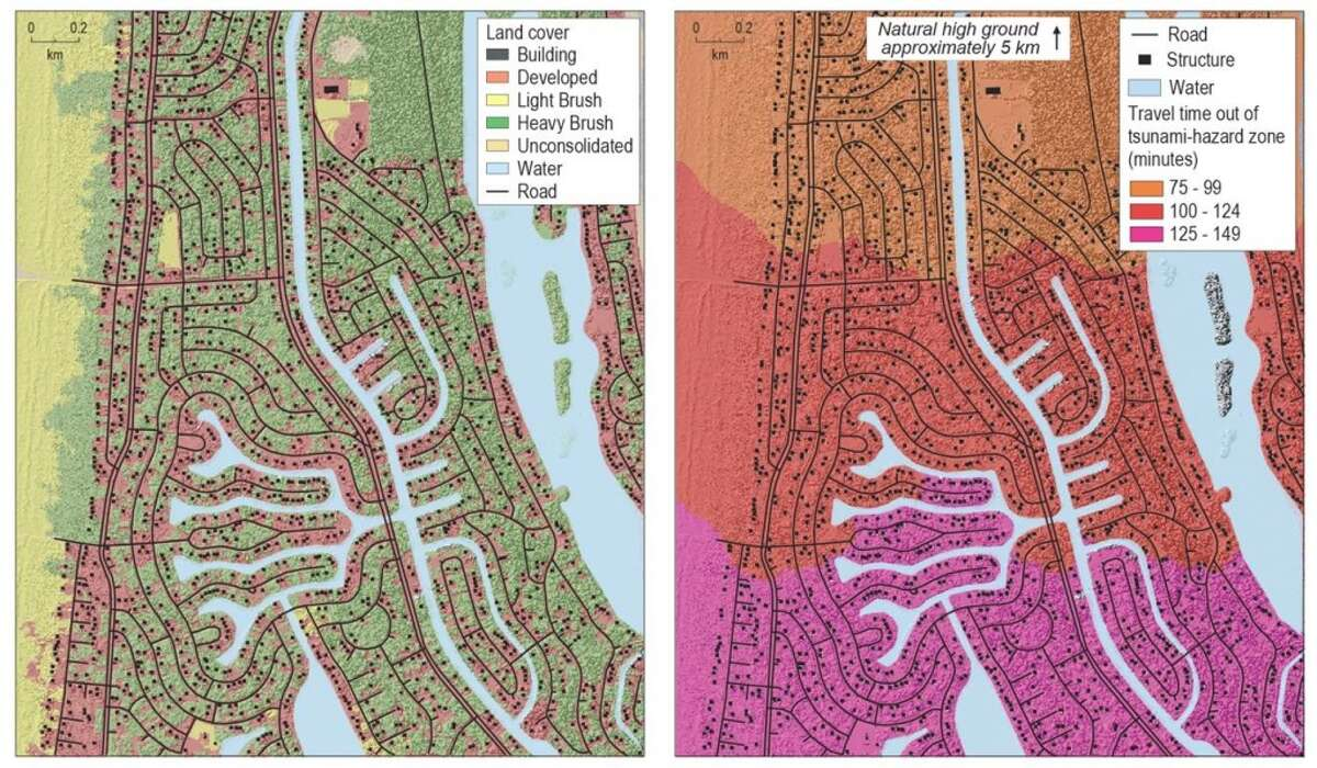 Landcover map and pedestrian evacuation time estimate map for Ocean Shores, Wash. The graph on the right shows the increments of time it would take to evacuate, ranging from 75 to 149 minutes.