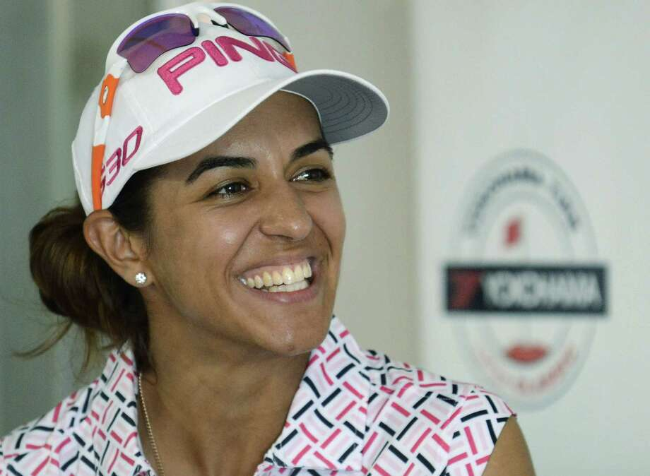 Paula Reto is all smiles at a news confernece after finishing with two-day score of13 under par after the second round of the LPGA Classic golf tourament at the Robert Trent Jones Golf Trail at Capitol Hill in Prattville, Ala., Friday, Sept. 19, 2014. (AP Photo/ Montgomery Advertiser, Mickey Welsh) NO SALES ORG XMIT: ALMON102 Photo: Mickey Welsh / The Montgomery Advertiser