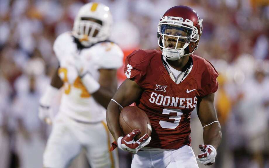 Oklahoma junior wide receiver Sterling Shepard caught five passes for 109 yards in last week's rout of Tennessee. Shepard, who has two TDs this season, faces a WVU secondary in flux. Photo: Sue Ogrocki / Associated Press / AP