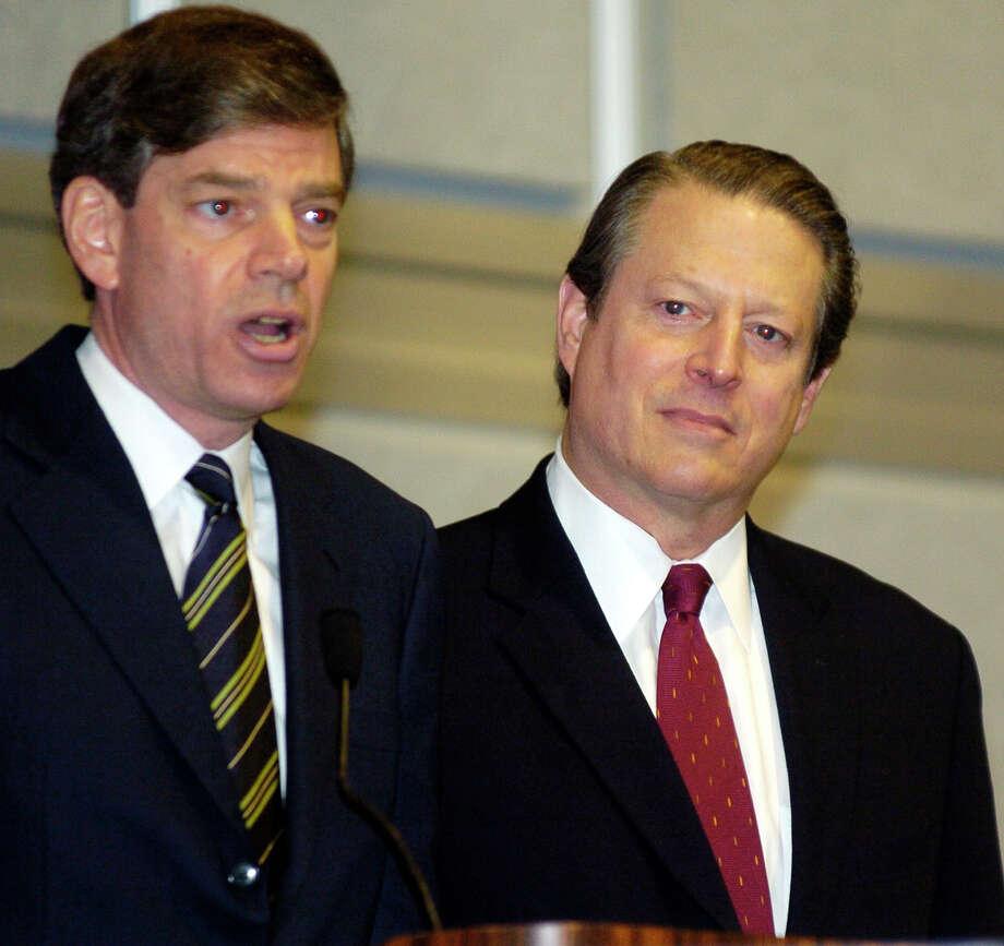 Joel Hyatt  and Al Gore, shown in 2004, are in a legal battle with Al Jazeera America. Photo: BILL HABER, STF / AP
