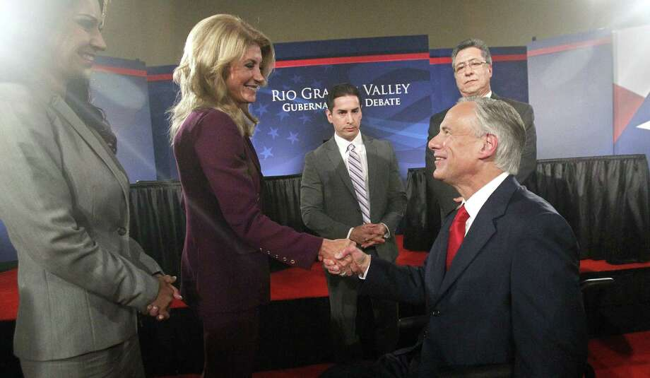 State Sen. Wendy Davis and Texas Attorney General Greg Abbott faced off in the Rio Grande Valley on Sept. 19, 2014, the first of two scheduled debates for the Texas governor's chair. Here are some of the big zingers that happened in Edinburg that night. Photo: Associated Press / POOL The McAllen Monitor