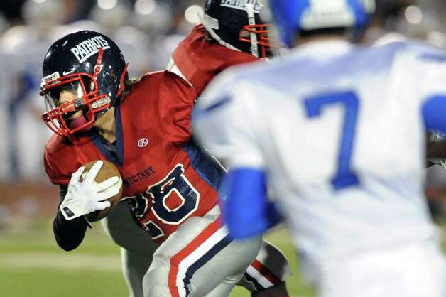 Schenectady's Kyle Bacon, left, carries the ball during their football game against Shaker on Friday, Sept. 19, 2014, at Schenectady High in Schenectady, N.Y. (Cindy Schultz / Times Union) Photo: Cindy Schultz / 00028670A