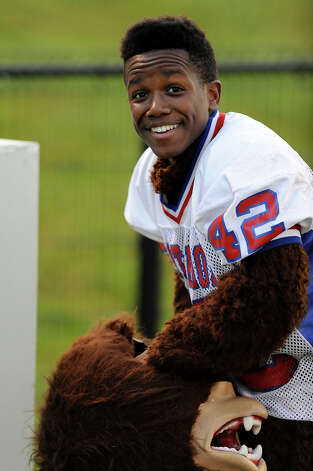 The West Brook Bruin mascot, Jaylon Houston, gets ready for the game against the Taylor Mustangs at the Carroll Thomas Stadium Friday, Sept 19, 2014. Photo by Drew Loker. Photo: Drew Loker / ©2014. www.DrewLoker.com
