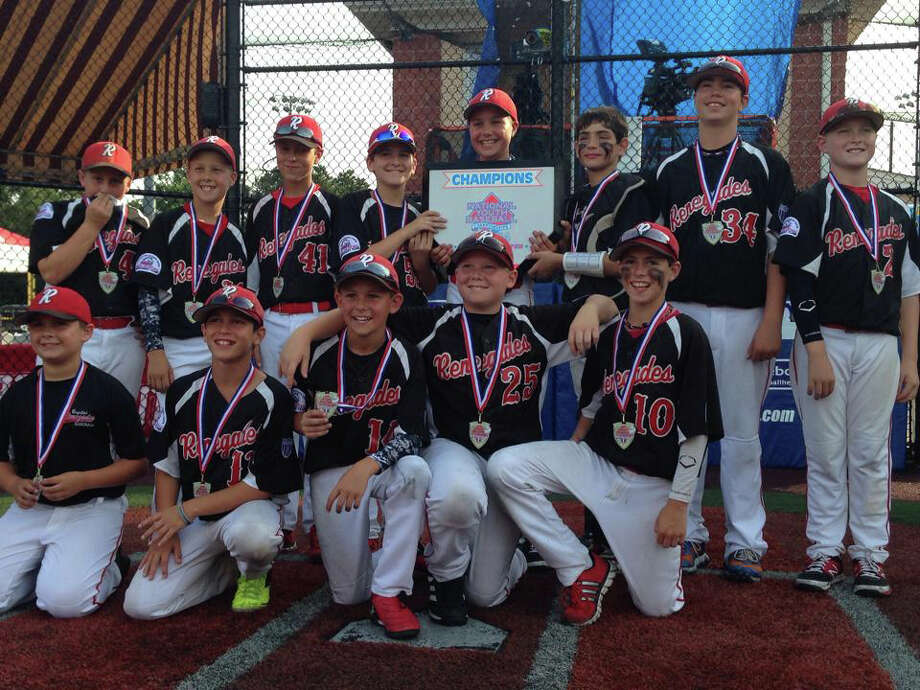 The Capital Renegades under-11 Red team won the National Youth Baseball championship at ?Baseball Heaven? on Long Island. The Clifton Park-based team went 5-0 to capture the national title. The championship game was televised live on CBS sports network and the event was sponsored by Major League Baseball and Baseball Youth Magazine. They defeated quality teams to claim the title, including Connecticut?s Team Mizuno and the MVP Legends from Miami. Team members are, (top row, from left): Shea Iveson, Chase Carroll, Cameron MacDonald, Justin Osborn, Zachary Konopka, Dylan Martin, Brandon Breakell, and Lakshman Reddy. (Kneeling): Cole Iveson, Dennis LedDuke, Dominic DePiero, Keegan Jarvais and Patrick McGuire.