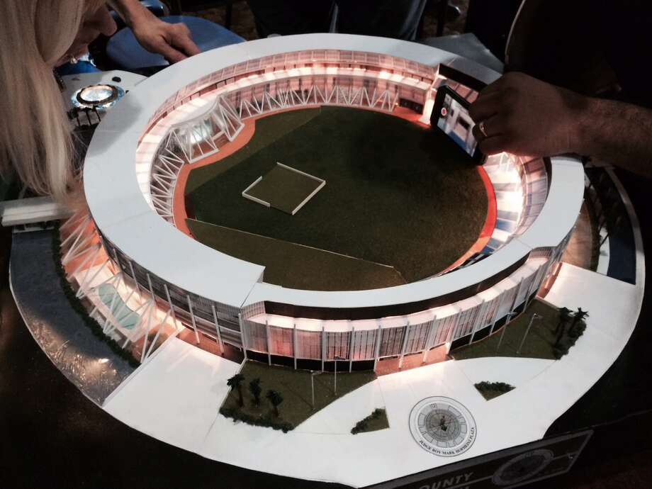 This scale model of the Astrodome made by Mike Acosta of the Houston Astros, reflects one idea for refurbishing the structure, Sept. 20, 2014. (Carol Christian / Houston Chronicle)