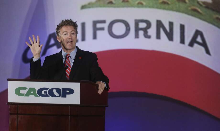 Sen. Rand Paul, R-Ky., speaks at the state GOP convention in Los Angeles.  His plan to set up an office in the Bay Area may indicate a run for president. Photo: Chris Carlson, Associated Press