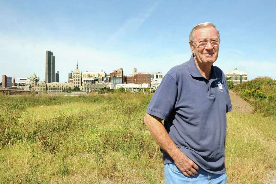 Mayor Dan Dwyer at the site of the proposed casino on Wednesday, Sept. 10, 2014, at De Laet's Landing in Rensselaer, N.Y. Across the Hudson River is the view of downtown Albany. (Cindy Schultz / Times Union) Photo: Cindy Schultz / 00028538A
