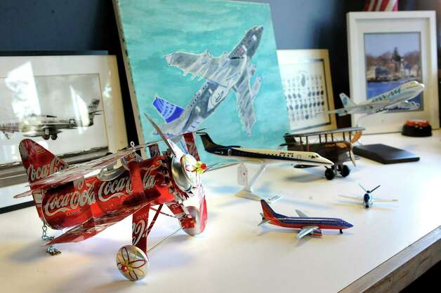 Mayor Dan Dwyer's collection of airplane memorabilia in his office on Wednesday, Sept. 10, 2014, at Rensselaer City Hall in Rensselaer, N.Y. (Cindy Schultz / Times Union) Photo: Cindy Schultz / 00028538A