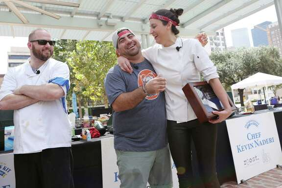 From left, chefs Travis Lenig and Kevin Naderi participated, alongside challenge winner Kate McLean, in the second annual Ready Houston Preparedness Kit Chef's Challenge at Market Square on Saturday.